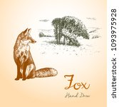 fox engraved illustration.... | Shutterstock .eps vector #1093975928