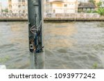 broken electric pole and... | Shutterstock . vector #1093977242