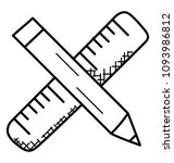 doodle icon pencil and scale...   Shutterstock .eps vector #1093986812