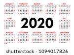 calendar 2020 vector basic grid....   Shutterstock .eps vector #1094017826