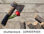 romantic top view of old axe... | Shutterstock . vector #1094059505