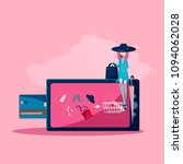 the girl is shopping online.   Shutterstock .eps vector #1094062028