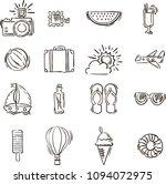 summer vector icons | Shutterstock .eps vector #1094072975