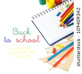 Back to school theme with copy space - stock photo