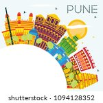 pune india skyline with color... | Shutterstock .eps vector #1094128352