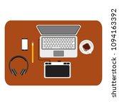 workspace desk computer... | Shutterstock .eps vector #1094163392