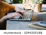 businesswoman is typing on... | Shutterstock . vector #1094205188