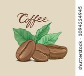 coffee beans with leaves and... | Shutterstock .eps vector #1094234945