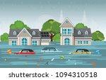heavy rain drops and city flood ... | Shutterstock .eps vector #1094310518