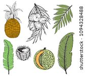 vector tropical set with... | Shutterstock .eps vector #1094328488