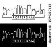 rotterdam skyline. linear style.... | Shutterstock .eps vector #1094357618
