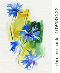 cornflowers. watercolor. | Shutterstock . vector #109439522