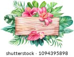 watercolor tropical leaves... | Shutterstock . vector #1094395898