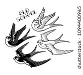 two graphic flying swallows... | Shutterstock .eps vector #1094400965