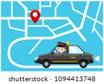 vector black taxi car and a... | Shutterstock .eps vector #1094413748