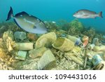 plastic pollution on ocean reef ... | Shutterstock . vector #1094431016