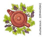 black currant tea illustration   Shutterstock .eps vector #1094445842
