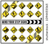 set of safety caution signs and ... | Shutterstock .eps vector #1094455565