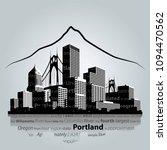 Portland City Skyline. Vector...