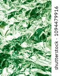 Small photo of Green crumpled foil metallic luster