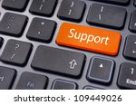 message on keyboard enter key, for online support concepts. - stock photo