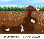 rabbit family living in the... | Shutterstock .eps vector #1094490605