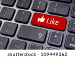 A like message on enter keyboard for social media concepts. - stock photo