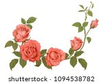 Stock vector branches pink roses bouquet with pink red flowers buds green stems leaves on white background 1094538782