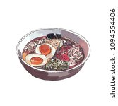 ramen bowl noodles vector.  | Shutterstock .eps vector #1094554406