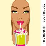 face of a girl with pink lips... | Shutterstock .eps vector #1094557922
