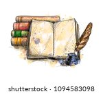 stack of books  open book and... | Shutterstock .eps vector #1094583098