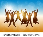 silhouettes of happy people... | Shutterstock . vector #1094590598