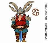 cancer. funny viking zodiac... | Shutterstock .eps vector #1094593988