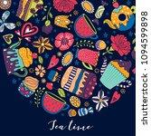 tea time. cute postcard.    Shutterstock .eps vector #1094599898