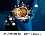 bitcoin cryptocurrency.... | Shutterstock . vector #1094615282