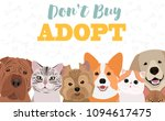 illustration with dogs and cats.... | Shutterstock .eps vector #1094617475