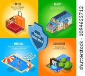 isometric travel insurance... | Shutterstock .eps vector #1094623712