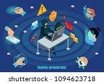 isometric biometric hacking... | Shutterstock .eps vector #1094623718