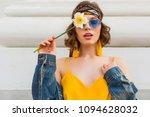 beautiful sexy woman in yellow...   Shutterstock . vector #1094628032