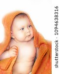 baby with a bright orange towel ... | Shutterstock . vector #1094638316