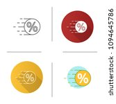 flying coin with percent icon.... | Shutterstock .eps vector #1094645786