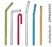 vector set of straw | Shutterstock .eps vector #1094660342