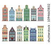 set of 12 amsterdam old houses... | Shutterstock .eps vector #1094665832