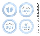cute baby shower vector sticker.... | Shutterstock .eps vector #1094670248