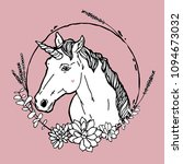 unicorn in flowers on a pink... | Shutterstock .eps vector #1094673032