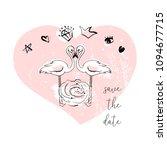 tropical hand drawn flamingo...   Shutterstock .eps vector #1094677715