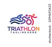 triathlon logo icons buttons... | Shutterstock .eps vector #1094692625