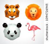 low poly animals  tiger lion... | Shutterstock .eps vector #1094726945