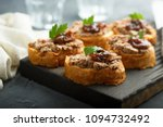 homemade pate on toasted bread | Shutterstock . vector #1094732492