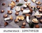variety of raw mushrooms on... | Shutterstock . vector #1094749328